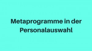 Metaprogramme in der Personalauswahl